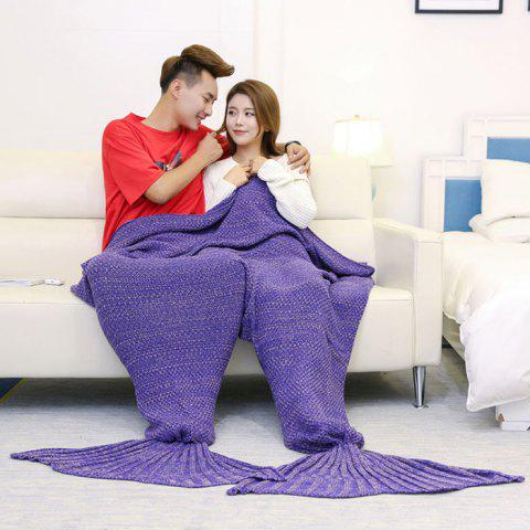 Super Soft Knitted Mermaid Blanket For Lovers - Purple - 180*155cm