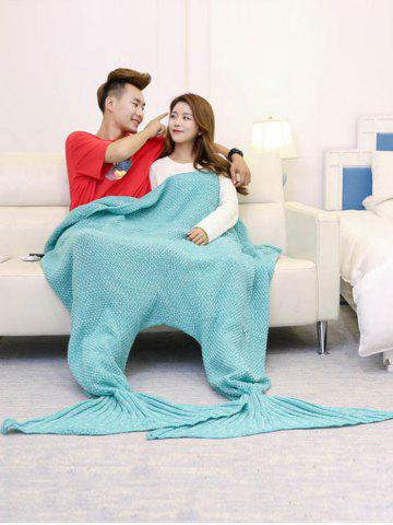 Store Super Soft Knitted Mermaid Blanket For Lovers TURQUOISE GREEN 180*155CM