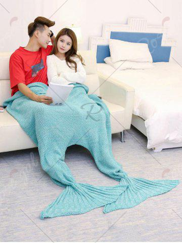 Fashion Super Soft Knitted Mermaid Blanket For Lovers - 180*155CM TURQUOISE GREEN Mobile
