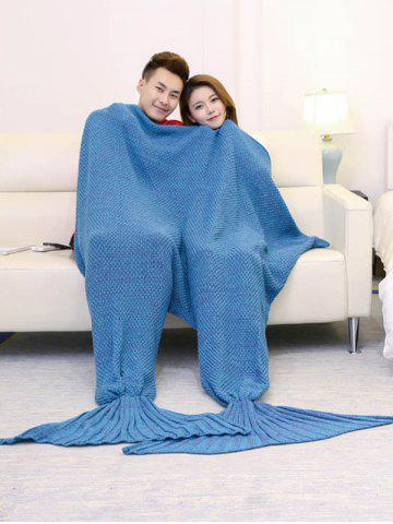 Unique Super Soft Knitted Mermaid Blanket For Lovers - 180*155CM LAKE BLUE Mobile