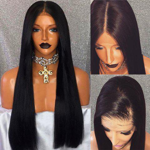 Shop Free Part Long Straight Lace Front Human Hair Wig - BLACK  Mobile