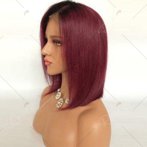 Discount Short Side Part Straight Bob Ombre Lace Front Human Hair Wig - BLACK AND RED  Mobile