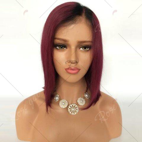 Online Short Side Part Straight Bob Ombre Lace Front Human Hair Wig - BLACK AND RED  Mobile