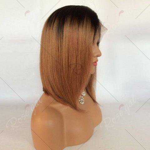 Outfits Short Side Part Straight Bob Ombre Lace Front Human Hair Wig - BLACK AND BROWN  Mobile