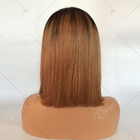 Store Short Side Part Straight Bob Ombre Lace Front Human Hair Wig - BLACK AND BROWN  Mobile