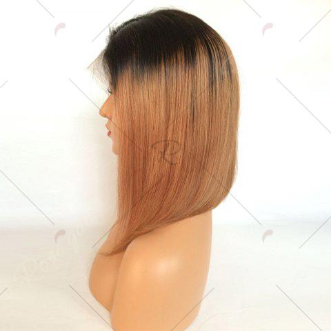Fancy Short Side Part Straight Bob Ombre Lace Front Human Hair Wig - BLACK AND BROWN  Mobile