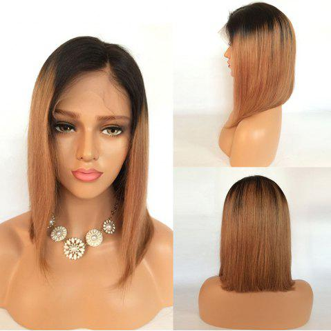 Short Side Part Straight Bob Ombre Lace Front Human Hair Wig - Black And Brown