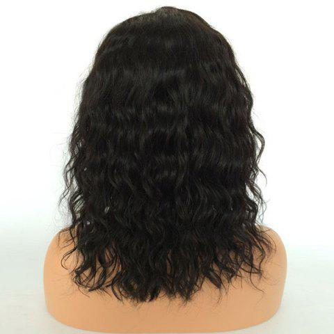 Fancy Center Parting Medium Natural Wave Lace Front Human Hair Wig - NATURAL BLACK  Mobile