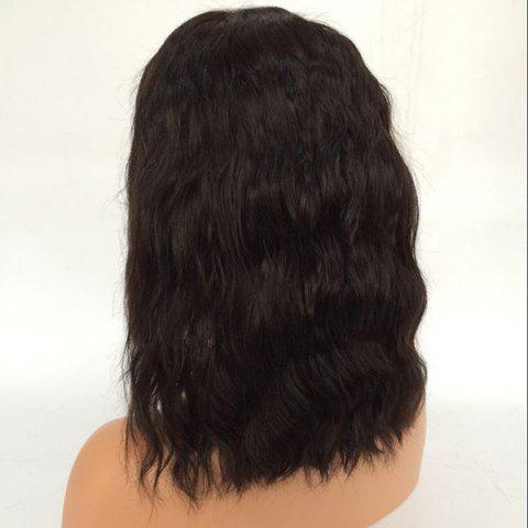 Outfits Center Parting Medium Natural Wave Lace Front Human Hair Wig - NATURAL BLACK  Mobile