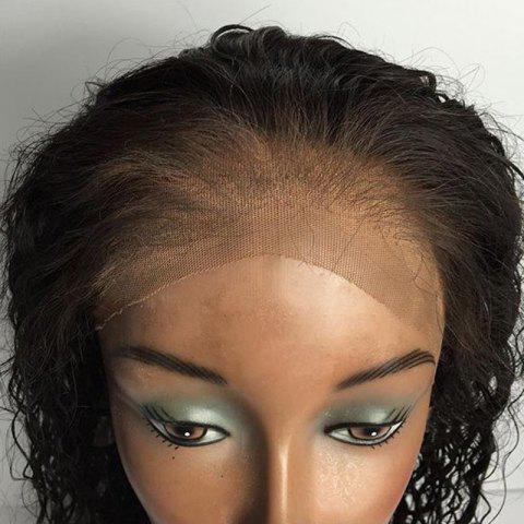 Sale Free Part Long Straight Lace Front Human Real Hair Wig - BLACK  Mobile