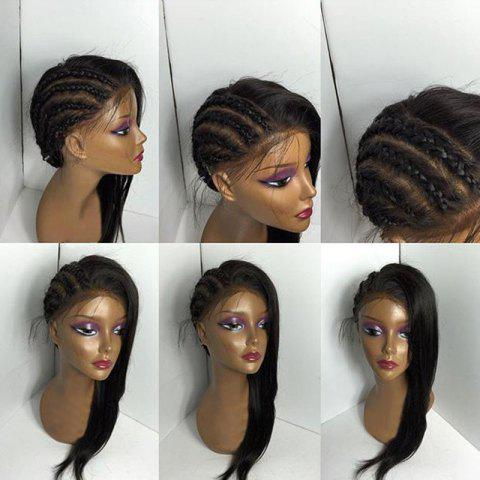 Store Free Part Long Braids Straight Lace Front Human Real Hair Wig BLACK