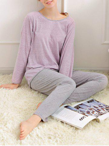 Casual Long Sleeves Pajamas Set - Light Purple - Xl