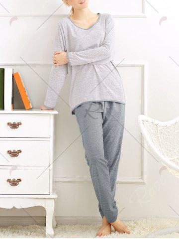 Sale Casual Long Sleeves Pajamas Set - XL LIGHT GRAY Mobile