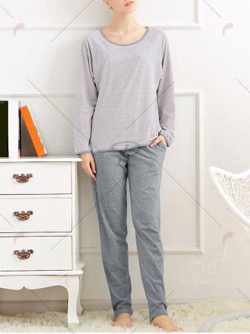 Shops Casual Long Sleeves Pajamas Set - XL LIGHT GRAY Mobile