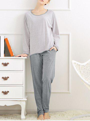 Store Casual Long Sleeves Pajamas Set - XL LIGHT GRAY Mobile