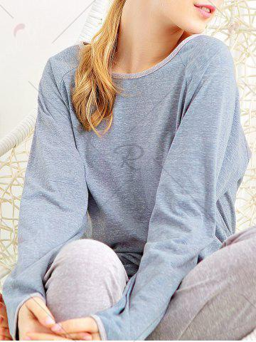 Fancy Casual Long Sleeves Pajamas Set - XL BLUE GRAY Mobile