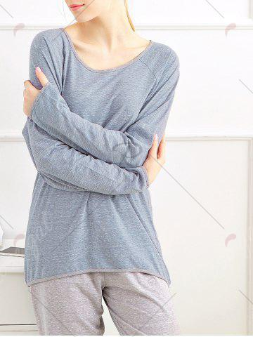 Outfits Casual Long Sleeves Pajamas Set - XL BLUE GRAY Mobile