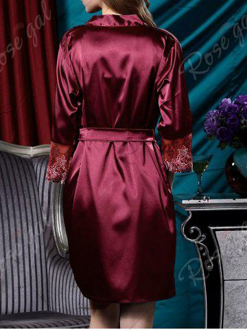 Outfit Embroidery Satin Cami Dress with Robe - L DARK RED Mobile