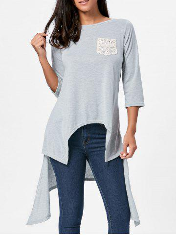 Store High Low Asymmetric Long Sleeve T-shirt - M GRAY Mobile