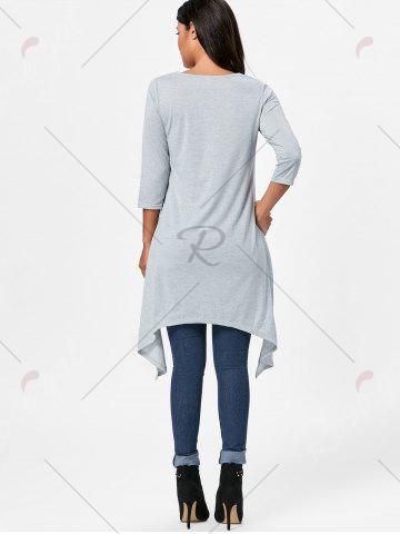 Discount High Low Asymmetric Long Sleeve T-shirt - M GRAY Mobile