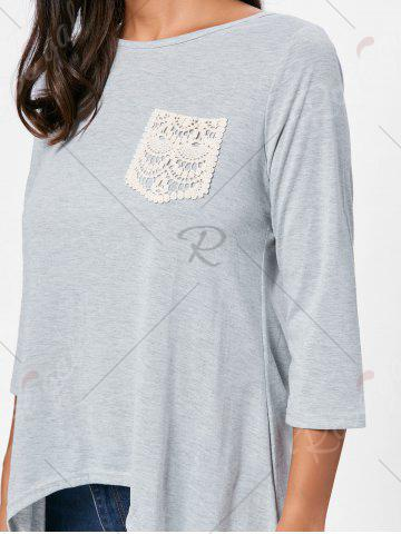 Outfits High Low Asymmetric Long Sleeve T-shirt - M GRAY Mobile