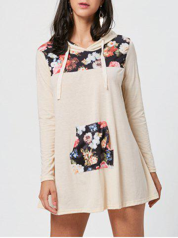 Kangaroo Pocket Hooded Floral Print Mini Dress Multicolore S