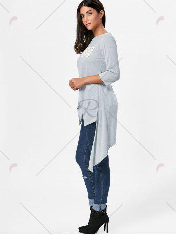 Outfits High Low Asymmetric Long Sleeve T-shirt - L GRAY Mobile