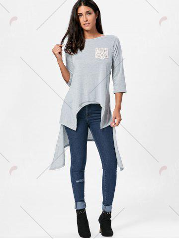 Outfits High Low Asymmetric Long Sleeve T-shirt - XL GRAY Mobile