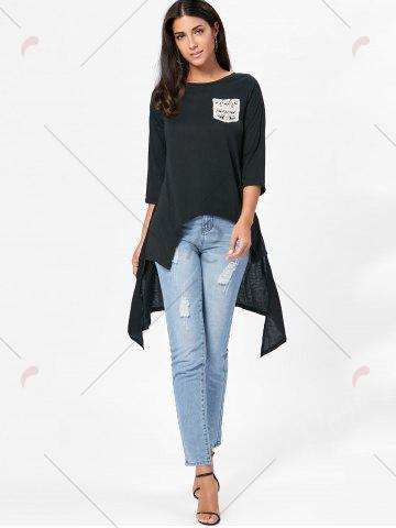 Store High Low Asymmetric Long Sleeve T-shirt - XL BLACK Mobile
