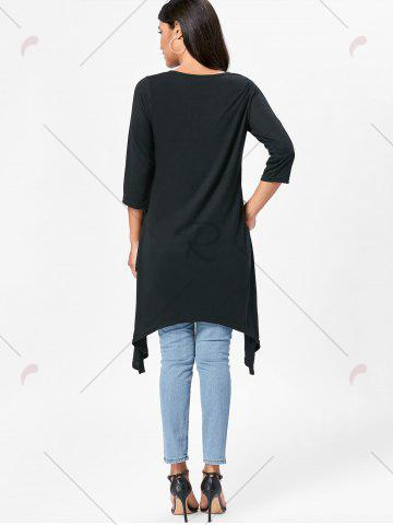 New High Low Asymmetric Long Sleeve T-shirt - M BLACK Mobile