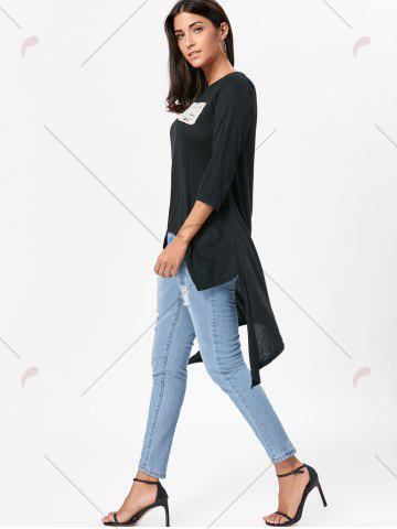 Outfits High Low Asymmetric Long Sleeve T-shirt - M BLACK Mobile