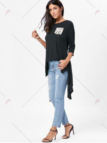 Latest High Low Asymmetric Long Sleeve T-shirt - M BLACK Mobile