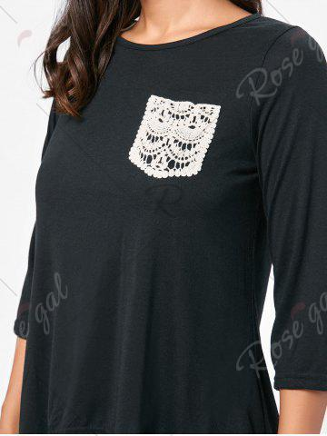 Trendy High Low Asymmetric Long Sleeve T-shirt - M BLACK Mobile