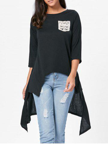 Online High Low Asymmetric Long Sleeve T-shirt - S BLACK Mobile
