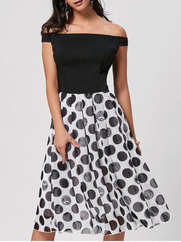 Best Polka Dot Off The Shoulder Midi Dress - L BLACK Mobile