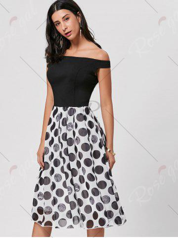 Outfit Polka Dot Off The Shoulder Midi Dress - L BLACK Mobile