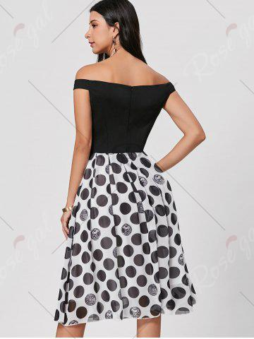 Online Polka Dot Off The Shoulder Midi Dress - L BLACK Mobile
