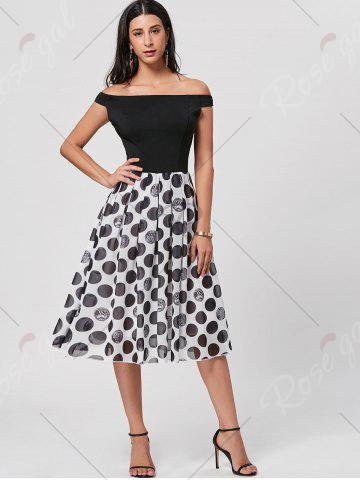 Latest Polka Dot Off The Shoulder Midi Dress - L BLACK Mobile
