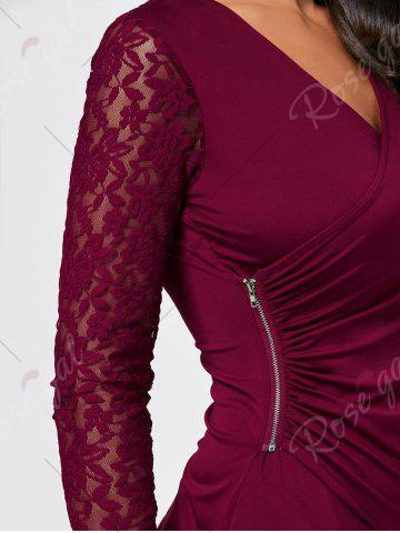 Unique Asymmetrical Zipper Draped Lace Insert T-shirt - M WINE RED Mobile
