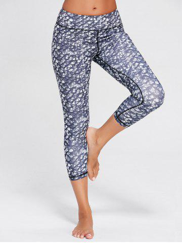 Store Printed High Waist Capri Yoga Tights - M BLUE GRAY Mobile