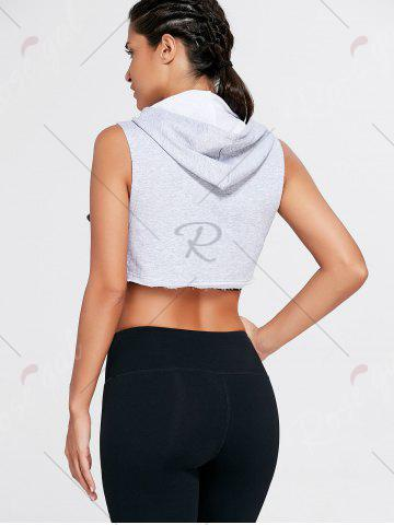 Trendy Sports Sleeveless Hooded Crop Top - S GRAY Mobile