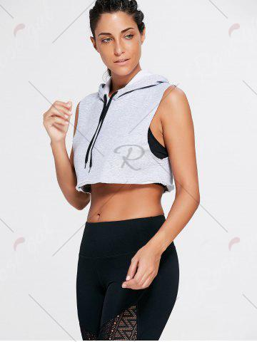 Buy Sports Sleeveless Hooded Crop Top - L GRAY Mobile