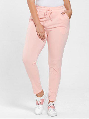 Affordable Plus Size Drawstring Waist Skinny Pants - 5XL DEEP PINK Mobile