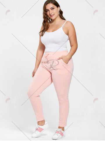 Outfit Plus Size Drawstring Waist Skinny Pants - 5XL DEEP PINK Mobile