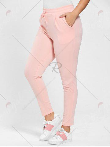 Outfit Plus Size Drawstring Waist Skinny Pants - DEEP PINK 3XL Mobile