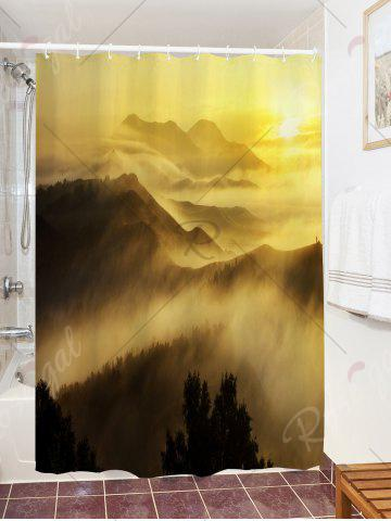 Sale Sunrise Mountains Print Fabric Waterproof Bathroom Shower Curtain - W59 INCH * L71 INCH YELLOW Mobile