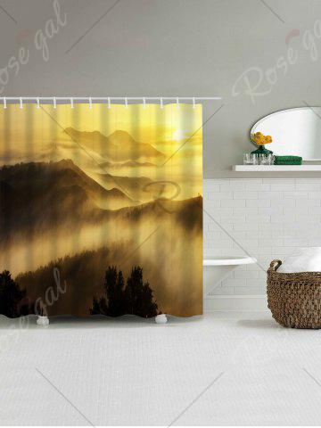 Sale Sunrise Mountains Print Fabric Waterproof Bathroom Shower Curtain - W71 INCH * L71 INCH YELLOW Mobile