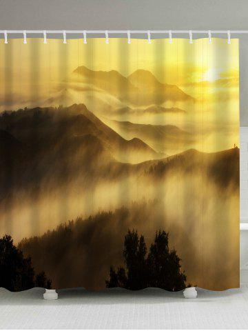 Cheap Sunrise Mountains Print Fabric Waterproof Bathroom Shower Curtain - W71 INCH * L71 INCH YELLOW Mobile
