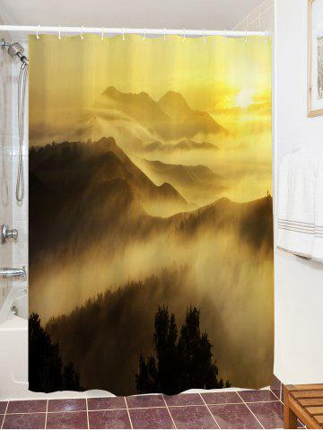 Latest Sunrise Mountains Print Fabric Waterproof Bathroom Shower Curtain - W71 INCH * L79 INCH YELLOW Mobile