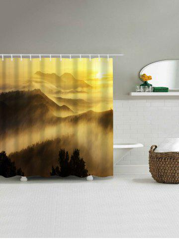 Chic Sunrise Mountains Print Fabric Waterproof Bathroom Shower Curtain - W71 INCH * L79 INCH YELLOW Mobile
